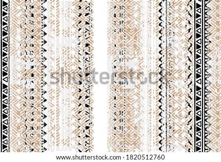 Rustic distressed abstract stripe worn, brush  effect camel, black, white  tribal art collage digital print pattern design in vector . art design for carpet, scarf, blanket, cover, rug