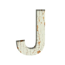 Rustic font. The letter J cut out of paper on the background of old rustic wall with peeling paint and cracks. Set of simple decorative fonts