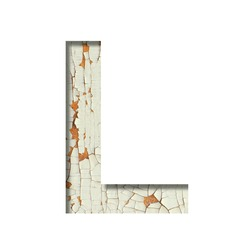 Rustic font. The letter L cut out of paper on the background of old rustic wall with peeling paint and cracks. Set of simple decorative fonts