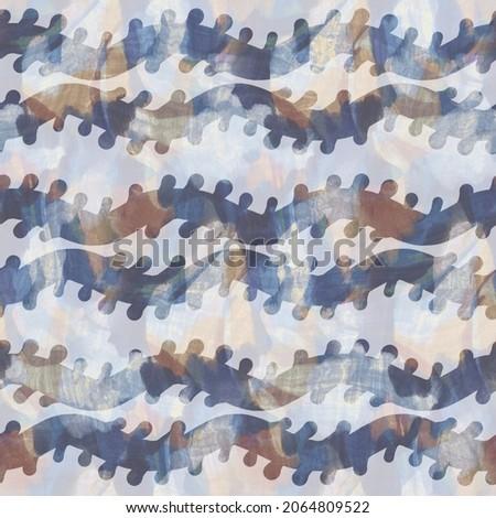 Rustic french grey stripe printed fabric. Seamless european style soft furnishing textile pattern. Batik all over digital line print effect. Variegated blue decorative cloth. High quality raster jpg