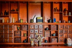 Rustic furniture with tools for pharmaceutical production