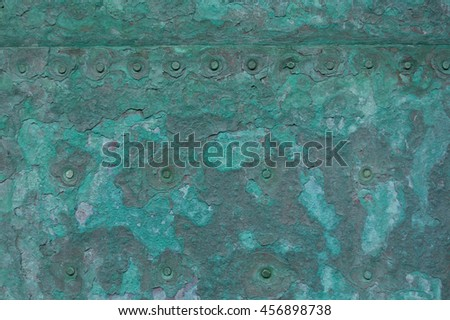 Rustic Green Copper Plates With Nails 456898738