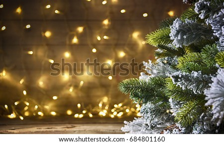 Rustic holiday background with christmas tree
