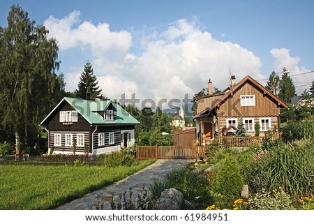 Rustic house in Jizera mountains, village Albrechtice Czech republic, Europe - stock photo