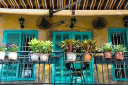 Rustic houses in The Old Quarter Hanoi also know as the French Quarters or Pho co Hanoi that is one of the major tourist attraction of Hanoi City, Vietnam