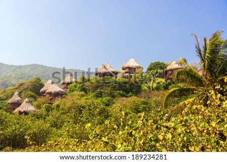 Rustic huts in a jungle in Tayrona National Park near Santa Marta Colombia