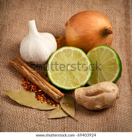 Rustic image of raw meal ingredients- curry or tagine