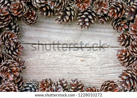 Rustic natural wooden background with pine cones #1228010272