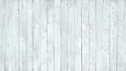 Rustic Old Shabby white Wood Wall Background. Beautiful Light Wooden Vintage Style Texture. Large Wood Surface Fence with Peeling Paint. Wide Angle Retro Wallpaper or Web banner With Copy Space