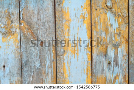 Rustic planks wall with aged shabby texture in teal and blue color