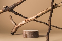 Rustic podium of cylinder shape, and dried branches on beige background. Product, cosmetic, perfume, jewellery mock up.