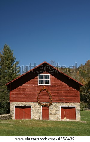 Rustic Red Barn in Autumn with Copy Space