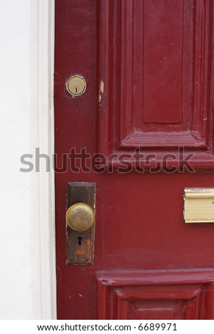 Rustic red door.