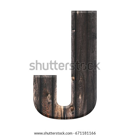 Rustic rural wood slats uppercase or capital letter J in a 3D illustration with a dark brown wooden board texture and bold thick text font style isolated on a white background  Stock fotó ©