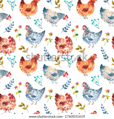 Rustic seamles pattern wiht chicken and flowers watercolor drawing  on white. Poultry abstract painting.
