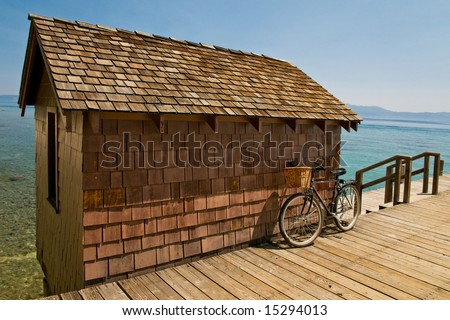 Rustic shed on lake Tahoe marina