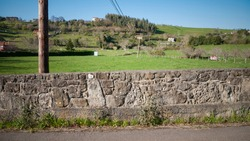 Rustic stone wall in countryside