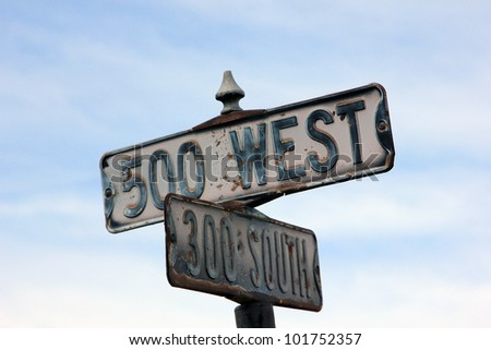 Rustic street signs in Heber City, Utah.
