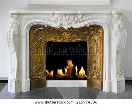 rustic style fireplace in white ...