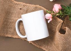 Rustic Styled White Mug Stock Photo // Black White Cup Mockup // White Mug on Dark Background Mockup // Floral Styled Mug Stock Photo // Blank Coffee Cup on Burlap