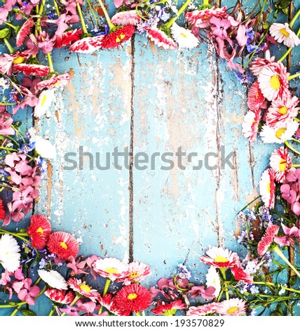 Rustic Summer Background With Colorful Daisy On Texture Table 193570829