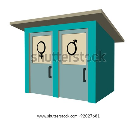 rustic toilette wc with symbol - stock photo