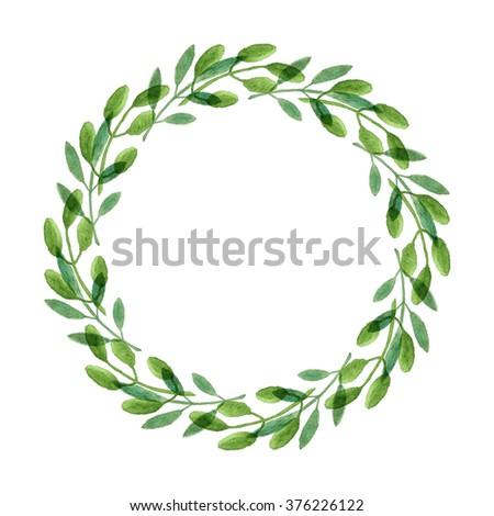 Rustic Watercolor Wreath Illustration 376226122