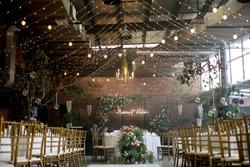 rustic wedding setup in a rustic hall
