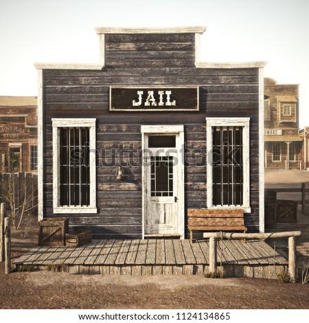 Rustic western town jail. 3d rendering. Part of a western town series