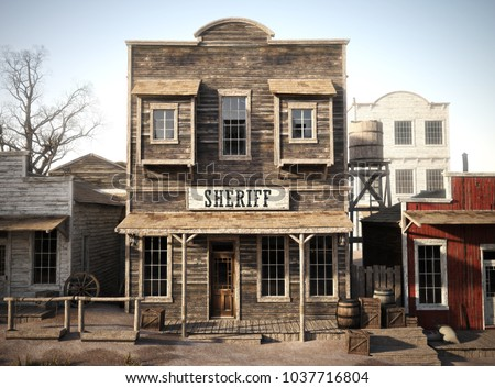 Rustic western town sheriff's office. 3d rendering. Part of a western town series