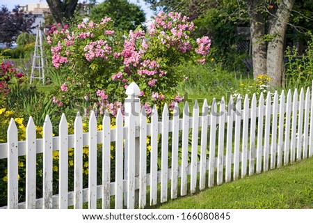 Rustic white picket fence with roses and other flowers in the background.