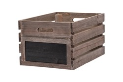 Rustic Wooden Apple Crate Wooden Box Wood Fruit Box Produce Packaging Farm Produce Packing Crate Black Board Sign Label to End Clipping Work Path Included in JPEG for Easy Compositing