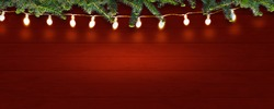 rustic wooden christmas background scandinavian style, shiny christmas lights and xmas fir on red wooden background, free advertising space concept