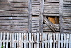 Rustic wooden wall texture of bamboo hut