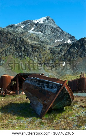 Rusting boats and equipment from the former whaling station at Grytviken in South Georgia