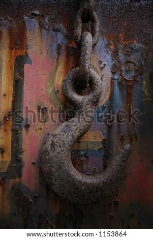 rusting metal hook