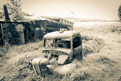 Rusting remains of old truck in long grass with old falling down farm shed in background.