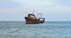 Rusting ships off the coast of Nouadhibou, Mauritania
