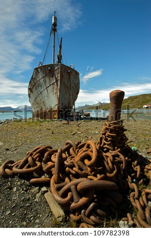 Rusting wrecks of old whaling ships beached in Grytviken, South Georgia,