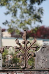 rusting wrought iron fence decoration