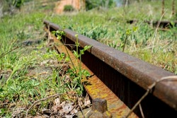 Rusty and abandoned train wheels with Railroad in the countryside
