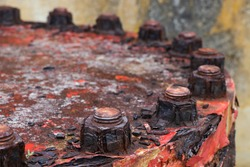 Rusty And Corroded Pipeline Lid Bolts Detail