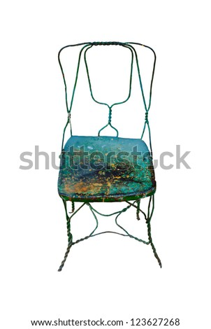Rusty Antique Chair made of scrap metal Isolated on white - stock photo