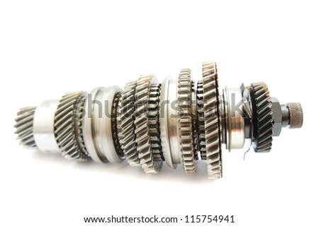 rusty automotive gear part on white background