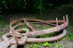 Rusty bear trap is activated in the forest
