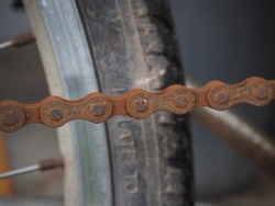 Rusty bicycle chain, used for a long time.