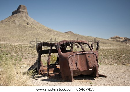 rusty car wreck in desert, Route 66, Arizona, USA