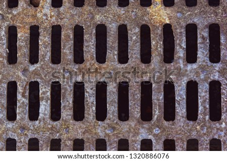 Close up urban cast-iron drain cover Images and Stock Photos