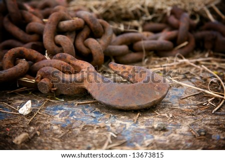 rusty chain and hook