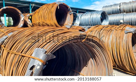 Rusty coil wire rode which is outdoor of factory Stock fotó ©